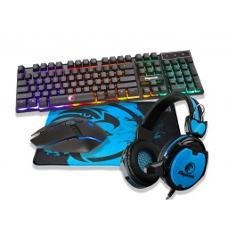 Combo Kit Gamer Razeak RGMC401 Teclado Retroiluminado + Mouse + Auricular + Mousepad