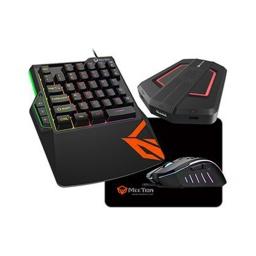 Combo Teclado Mouse Adaptador Mousepad Gamer MeeTion CO015 Retroiluminado RGB para Consolas