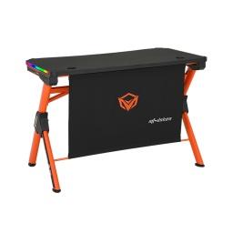 Escritorio Mesa Gamer para PC Meetion MT-DSK20 Forma de Z  Negro con Naranja y Luces RGB Alta Calidad