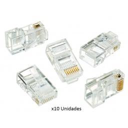 Fichas Conector rj45 Cat5e Para Cables de Red - Bolsa x10 Unidades