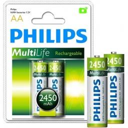 Pila Recargable Philips AA 2450mah Blister x2 Pilas