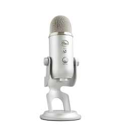 Micrófono Blue Yeti Estéreo Omnidireccional Profesional Ideal Para Streamer USB Compatible Con PC - Plateado