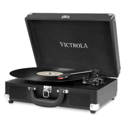 Victrola Tocadiscos Suitcase VSC-550BT-BLK Con Parlantes Entrada Aux Bluetooth Diseño Retro con Valija