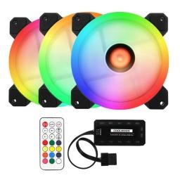 Kit De 3 Fanes RGB Para PC con HUB Controladora y Control Remoto