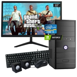 Pc Gamer Completa Nueva INTEL Core i5-3470 8GB 480GB SSD 4GB de Video GT1030 GeForce + Monitor Nuevo LED 22''