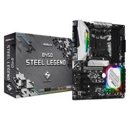 Motherboard ASRock B450 Steel Legend con RGB Socket AM4 p/AMD Ryzen Vega M.2 DDR4