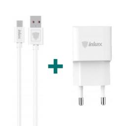 Cargador Inkax CD-27 5V/2.1A 220v a Puerto USB + Cable USB Tiopo C 1 Metro