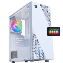 Gabinete Gamer Mid-Tower Fantech CG-76 Panel lateral Vidrio Templado Con 4 Fan Cooler RGB incluídos - Blanco