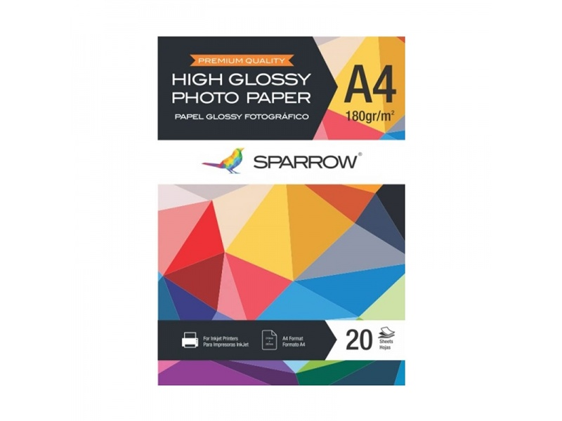 Papel Foto Sparrow A4 180grs High Glossy x20 Hojas