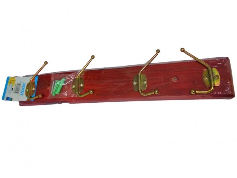 Perchero de Madera para colgar en Pared con 4 ganchos de hierro