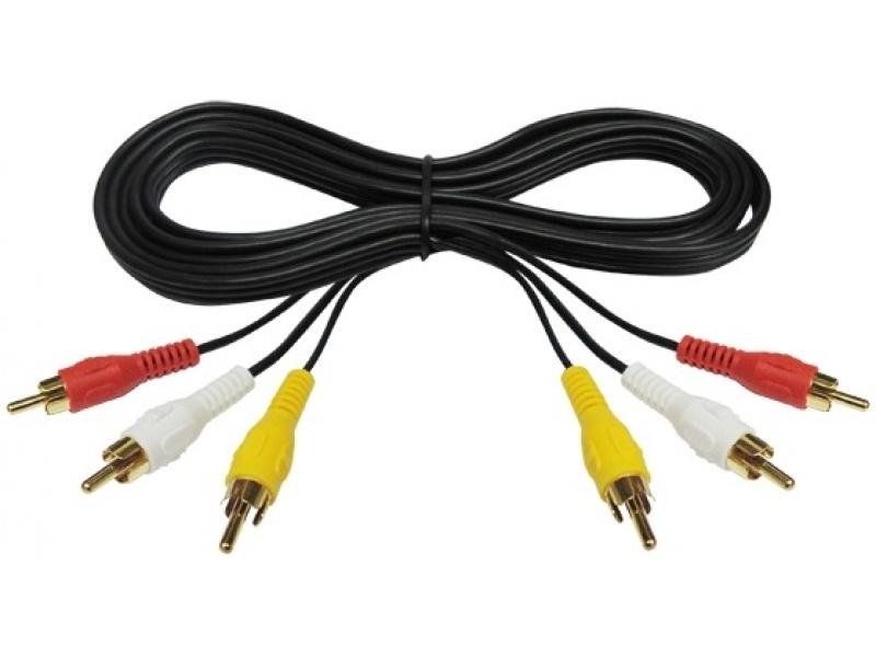 Cable de Audio Video 3X3 RCA M/M 1,8M Estereo